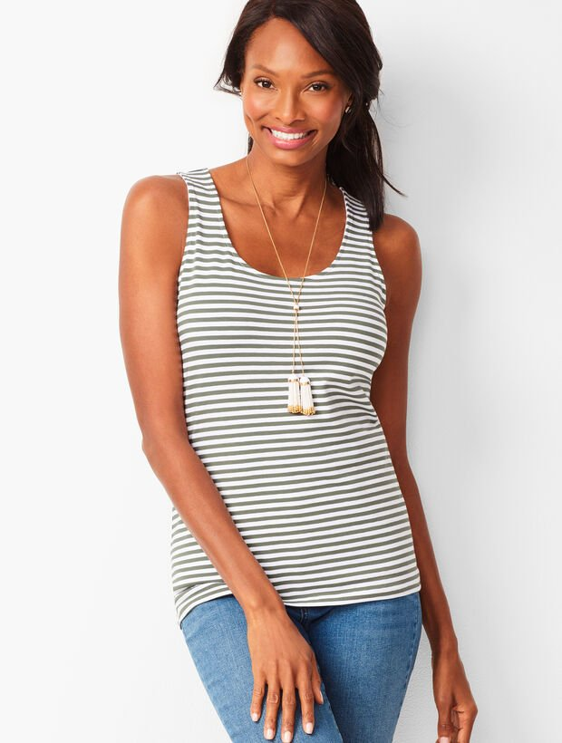 Pima Cotton Blend Tank - Stripe