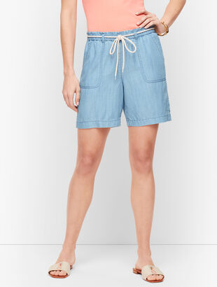 "Summer Twill Pull-On Shorts - 6"" - TENCEL™"