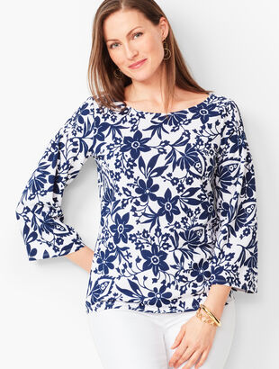 Pintuck Shoulder Top - Floral