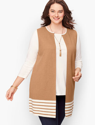 Plus Size Striped Milano Knit Vest