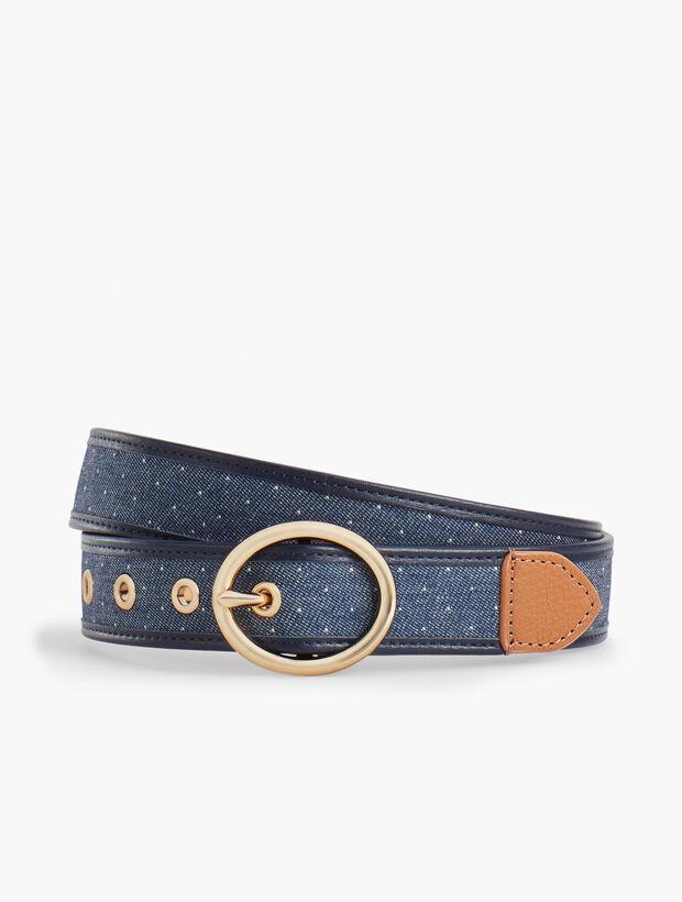 Leather-Trim Belt - Denim Dot