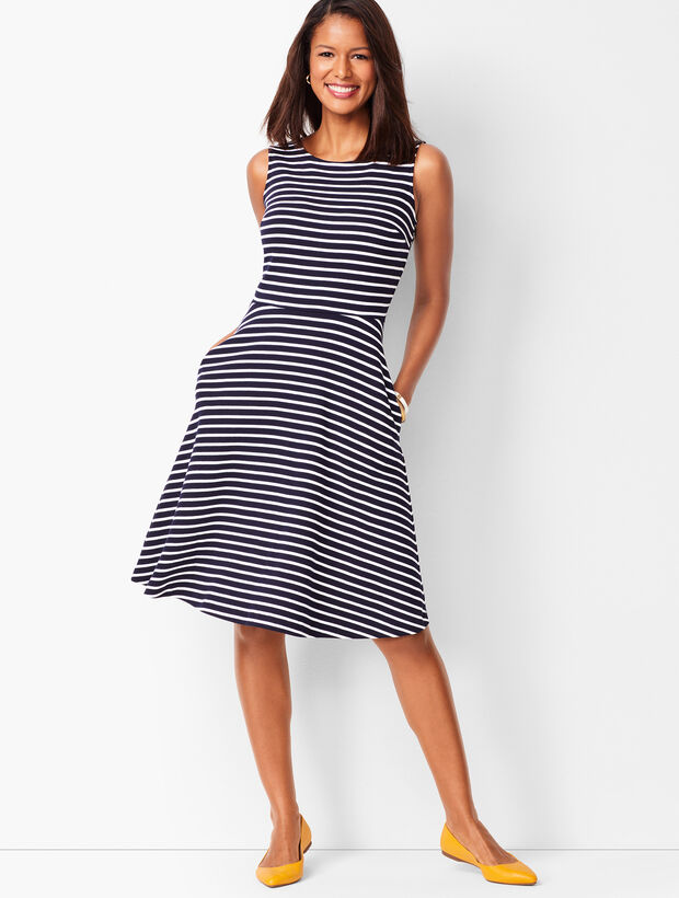 Fit & Flare Knit Dress - Stripe
