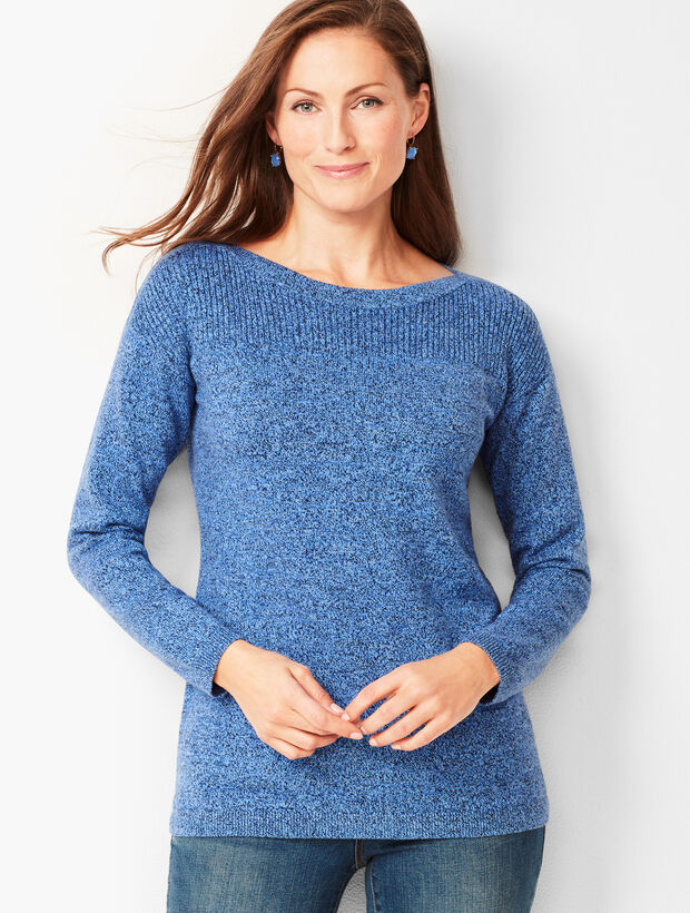 Ribbed-Yoke Sweater - Marled