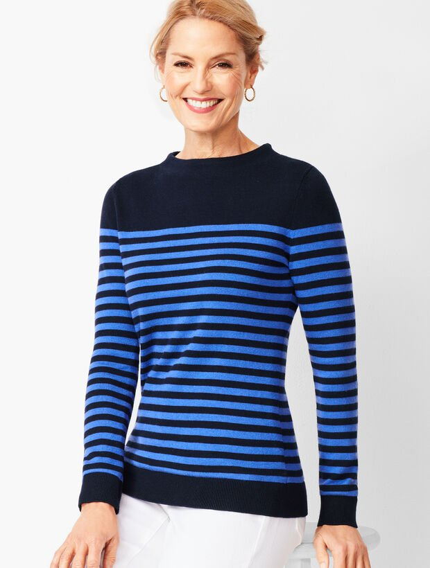 Stripe Mockneck Sweater