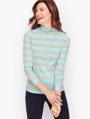 Ruched Stripe Turtleneck