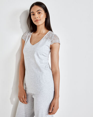 Organic Cotton Jersey Lace Shoulder Tee
