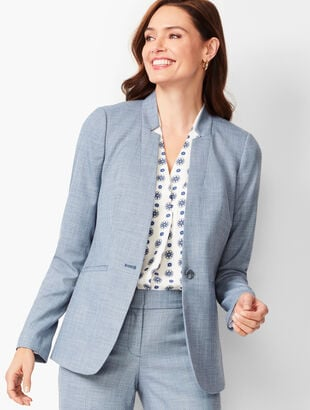 Tailored Sharkskin One-Button Blazer