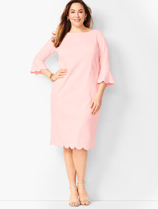 Refined Scallop-Edge Ponte Sheath Dress