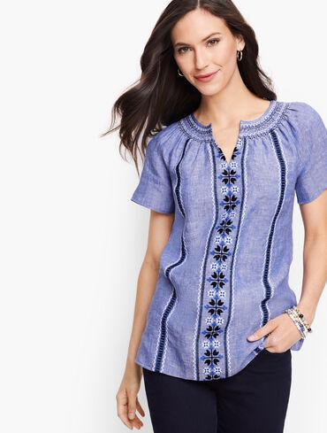 Embroidered Raglan Sleeve Top