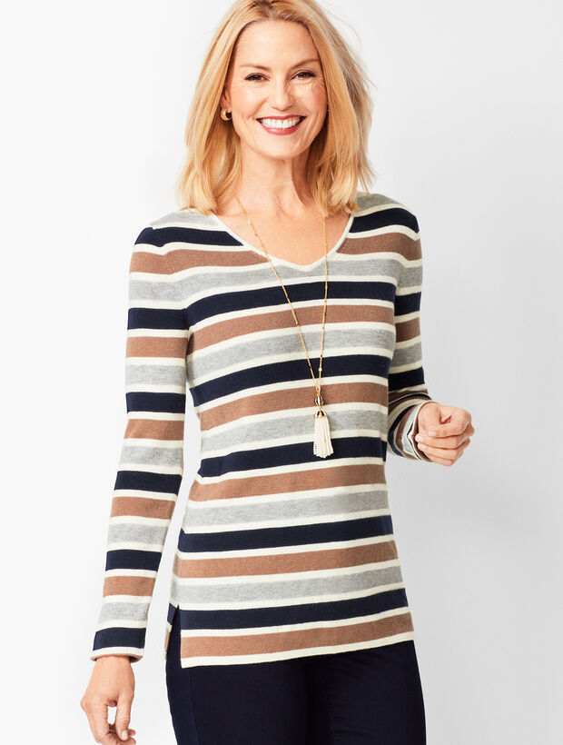 V-Neck Sweater - Stripe
