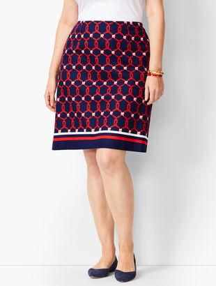 Rope Print Canvas Stretch Skirt