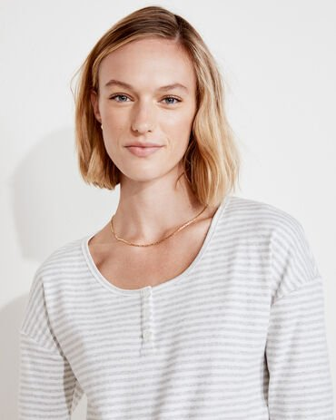 Striped Ribbed Henley Long Sleeve Tee