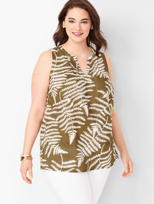 Split-Neck Shell - Foliage Print