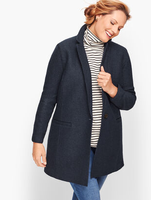Plus Size Long Boiled Wool Jacket