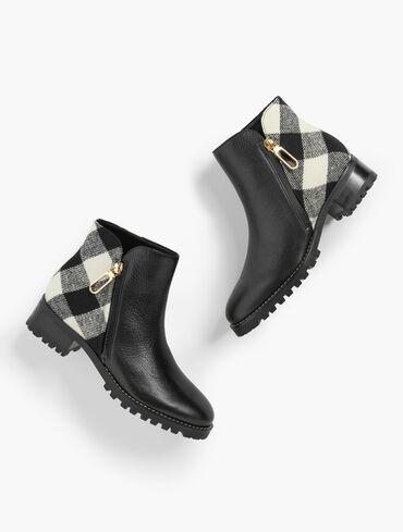 Tish Lug Pebble Leather Ankle Boots