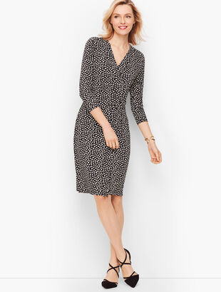 Heart Print Faux Wrap Jersey Dress