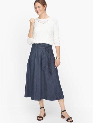 Tie Waist Denim Skirt