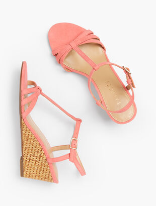 Royce T-Strap Woven Wedges - Suede