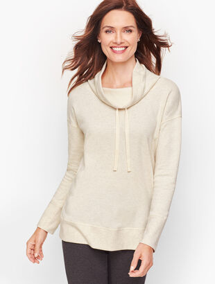 Cowlneck Heathered Fleece Pullover
