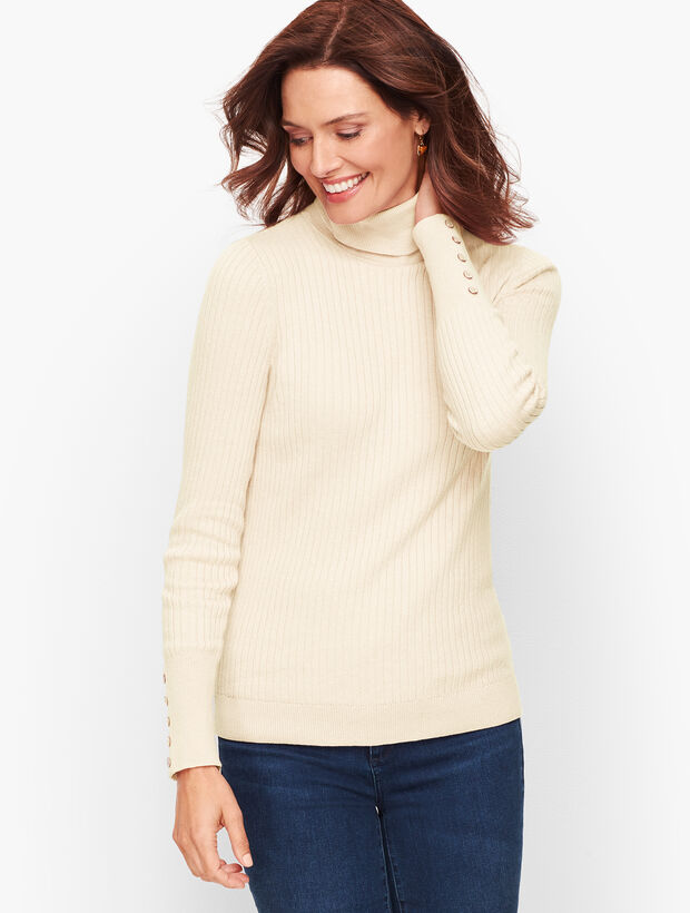Button Cuff Ribbed Turtleneck Sweater