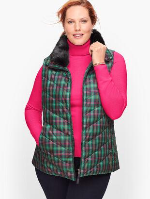 Down Faux Fur Collar Puffer Vest - Talbots Tartan