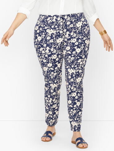 Plus Exclusive Talbots Chatham Fly Front Ankle Pants - Floral