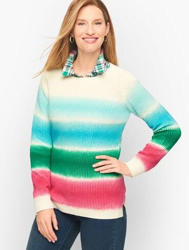 Shaker Stitch Sweater - Spray Stripe