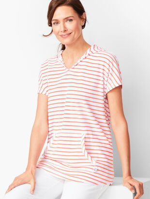 Stripe Loop-Terry Hooded Tunic