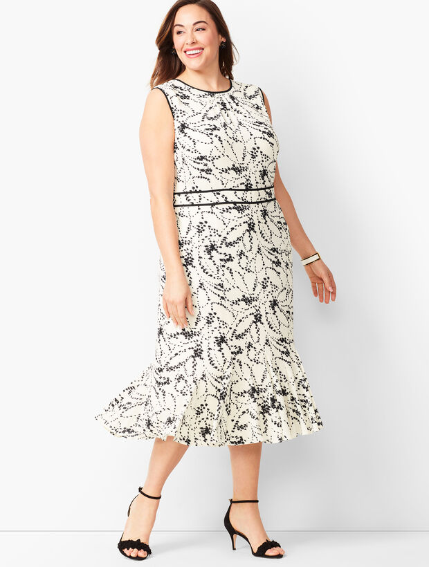 Floral Flounce-Hem Dress