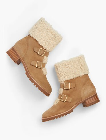 Tish Buckle Faux Sherpa Trim Suede Ankle Boots