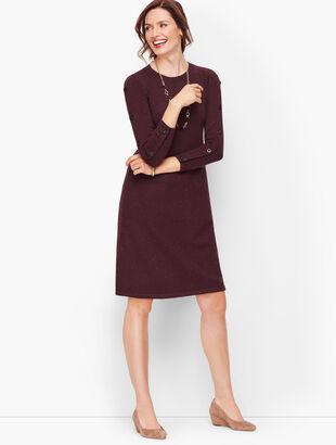 Tweed Button Sleeve Sweater Dress