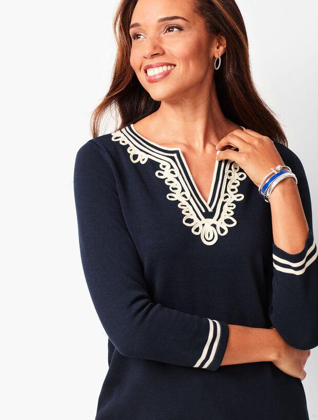 Embellished Split-Neck Sweater