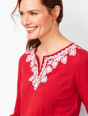 Split-Neck Embroidered Tunic