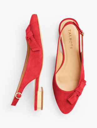 Edison Bow Slingback Flats - Suede
