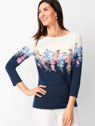 Cotton Bateau-Neck Tee - Cascading Floral