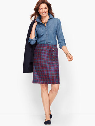 Faux Wrap A-Line Skirt - Plaid