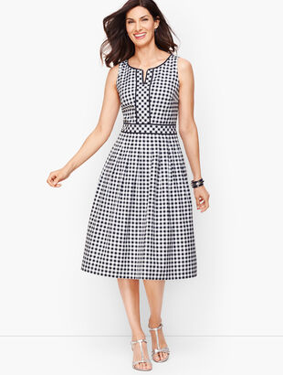 Gingham Fit & Flare Dress