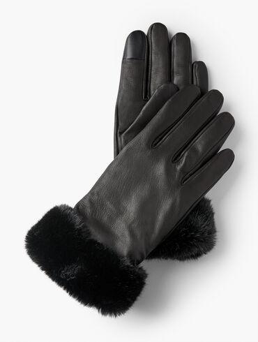 Faux Fur Trim Leather Gloves