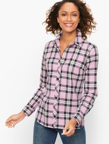 Cotton Button Front Shirt - Lively Plaid