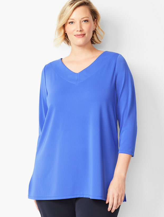 Plus Size Knit Jersey V-Neck Tunic