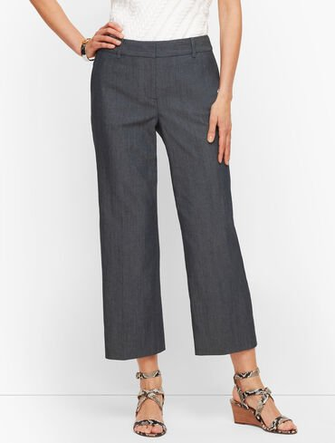Straight Leg Crop Pants - Polished Denim