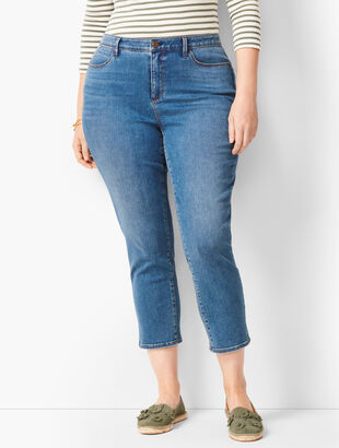 Plus Size Denim Jegging Crops - Cove Wash - Curvy Fit