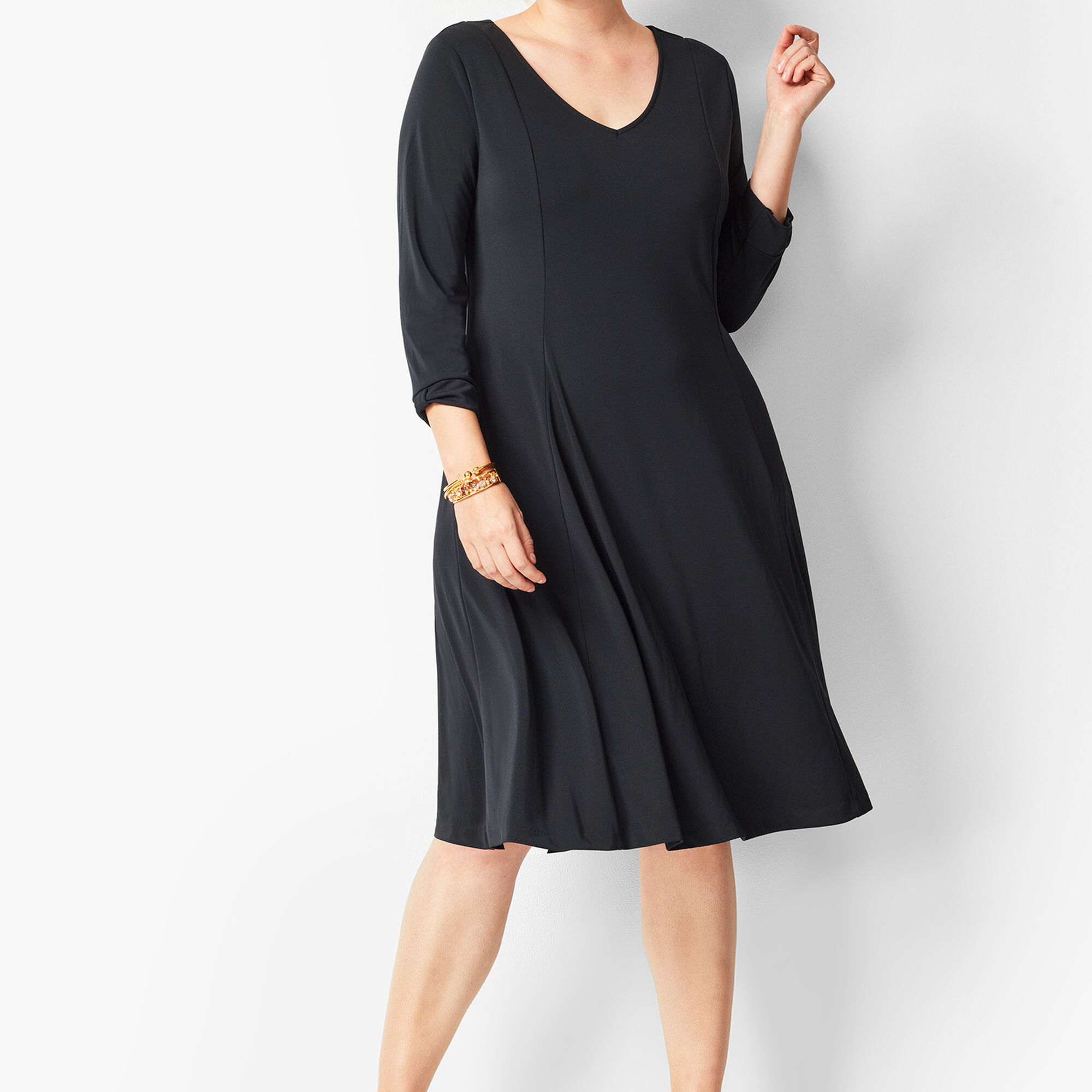 Plus Size Knit Jersey Fit & Flare Dress