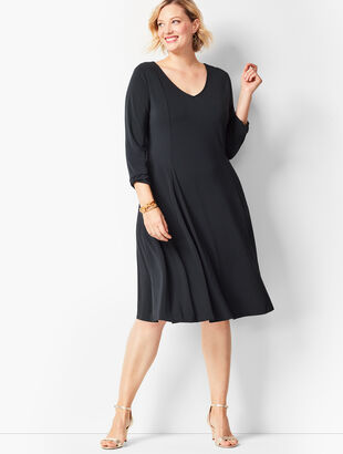 Plus Size Knit Jersey Fit & Flare Dress