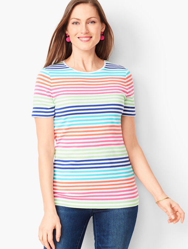 Cotton Crewneck Tee - Lively Stripe