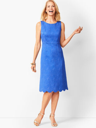 Scallop-Hem Matelassé  Dress