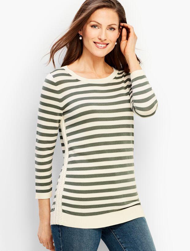 Crochet-Side Stripe Sweater