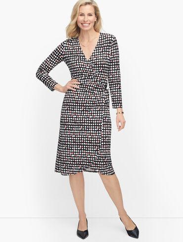 Knit Jersey Faux Wrap Dot Dress
