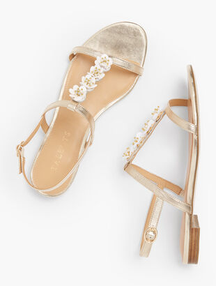 Keri Flower Embellished Sandals - Metallic