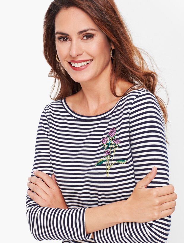 Embroidered Thistle Stripe Tee